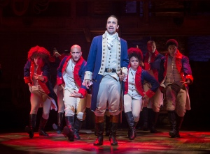 """PHOTO MOVED IN ADVANCE AND NOT FOR USE - ONLINE OR IN PRINT - BEFORE AUG. 16, 2015. -- Lin-Manuel Miranda in the title role of the musical """"Hamilton"""" at the Richard Rodgers Theatre in New York, July 11, 2015. Hip-hop and musical theater seemingly have little overlap, but that is the space in which Miranda lives, the space that birthed ?Hamilton,? which opened last week to some of the strongest reviews in years. (Sara Krulwich/The New York Times)"""