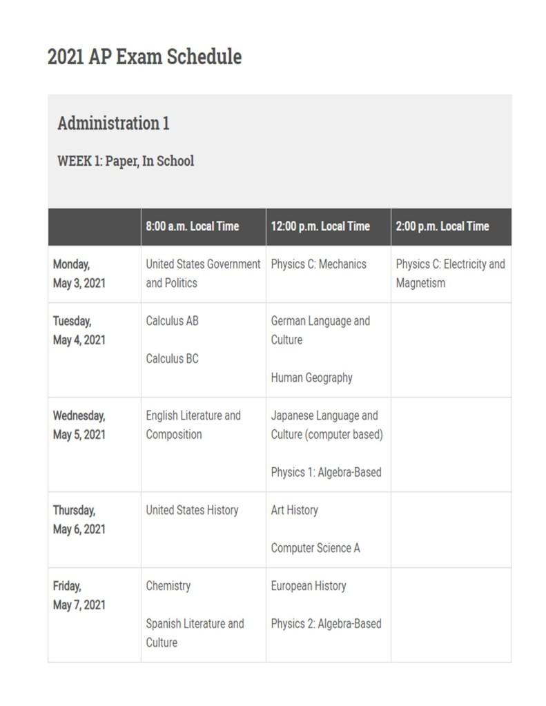 administration 1 week 2 schedule screenshot